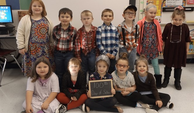 Ms. Lisa Smith's kindergarten class at ECC celebrates the 100th day of school!