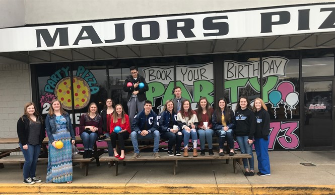 CCHS students who are transitional ready were treated to a Valentine's Day Party at Major's Pizza.
