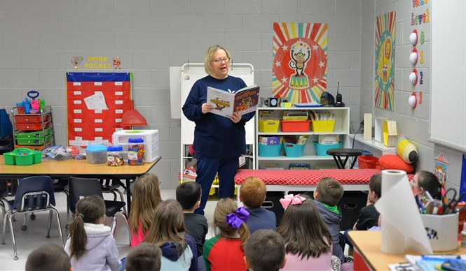 Guest readers from the Clinton County Retired Teachers Association read to students at Albany Elementary School to help celebrate AES Read Across America Week.