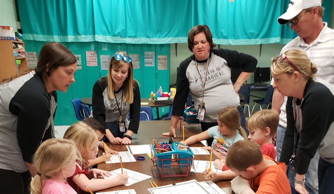 "Albany Elementary School hosted a ""Trapped in Math Class"" themed Family Math and Literacy Night."