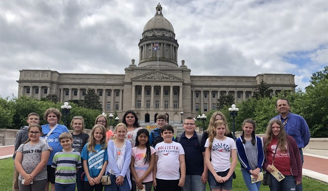 Fifth grade social studies teacher Chris Marcum accompanied a group of students to Frankfort to tour the State Capitol and to meet with State Senator Max Wise.