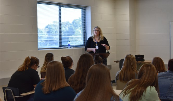 Current Clinton County School Board Member Leslie Stockton spoke to students in the Business Academy and Medical Arts Academy at SoKY ECCA.