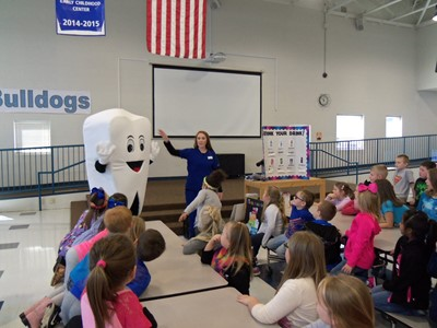 "On Thursday, March 15, 2018, ""Mr. Molar"" visited Clinton County Early Childhood Center to talk with the preschool and kindergarten students about healthy teeth."