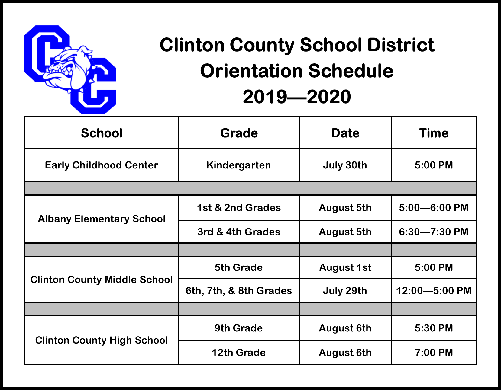 Mark your calendars! Here is the Orientation Schedule for next school year!