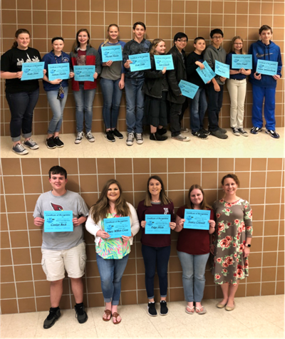 The members of the middle school and high school academic teams were recognized at the April school board meetings.
