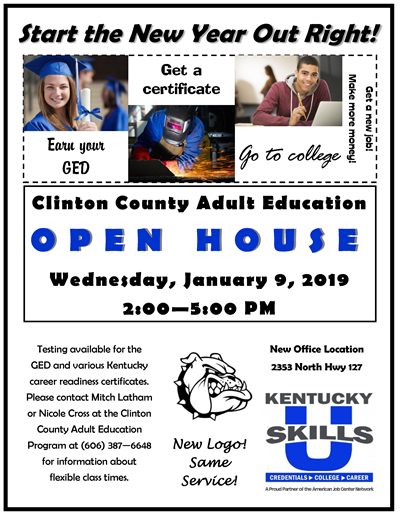 Adult Education Open House January 2019