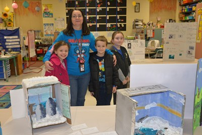 AES was transformed into a museum for Family Literacy Night on March 5th, with each grade level featuring exhibits, student work displays, and literacy activities.
