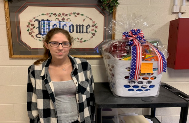 Ashtin Graves was the winner of the gift basket drawing for parents of students in 1st & 2nd grade at AES.