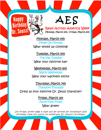 Read Across America Week kicks off at AES on Monday, March 4th!