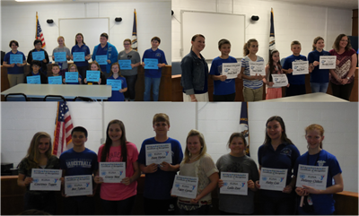The members of the elementary and middle school academic teams, as well as the middle school KUNA students, were recognized at the March & April school board meetings.