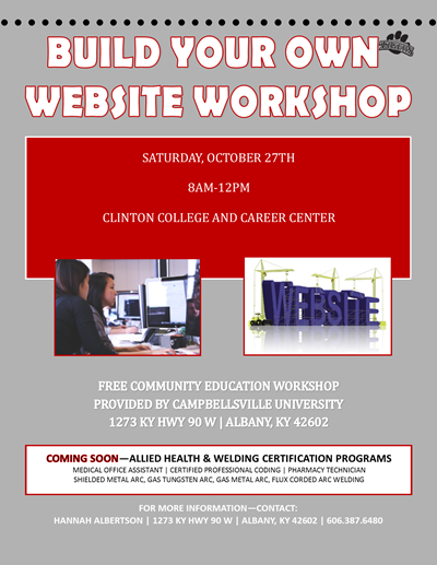 Don't miss this free workshop!  Learn how to build your own website!