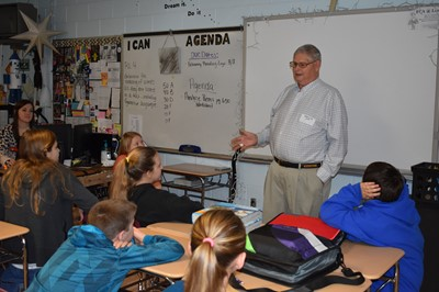 Local veterinarian Charles Daily speaks to a group of students at CCMS during Career Day on Thursday, February 21st.