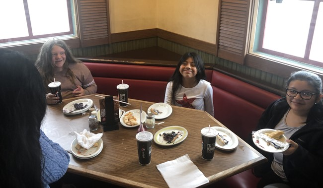 Student winners in Red Ribbon Week contests at CCMS were treated to lunch at Pizza Hut!