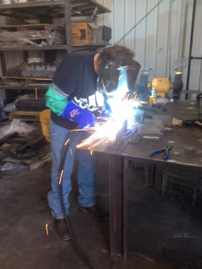 Chase Albertson, a senior in Mr. Jesse Burchett's Welding Program at Clinton County Area Technology Center, is participating in work-based learning at MetalWorkz.