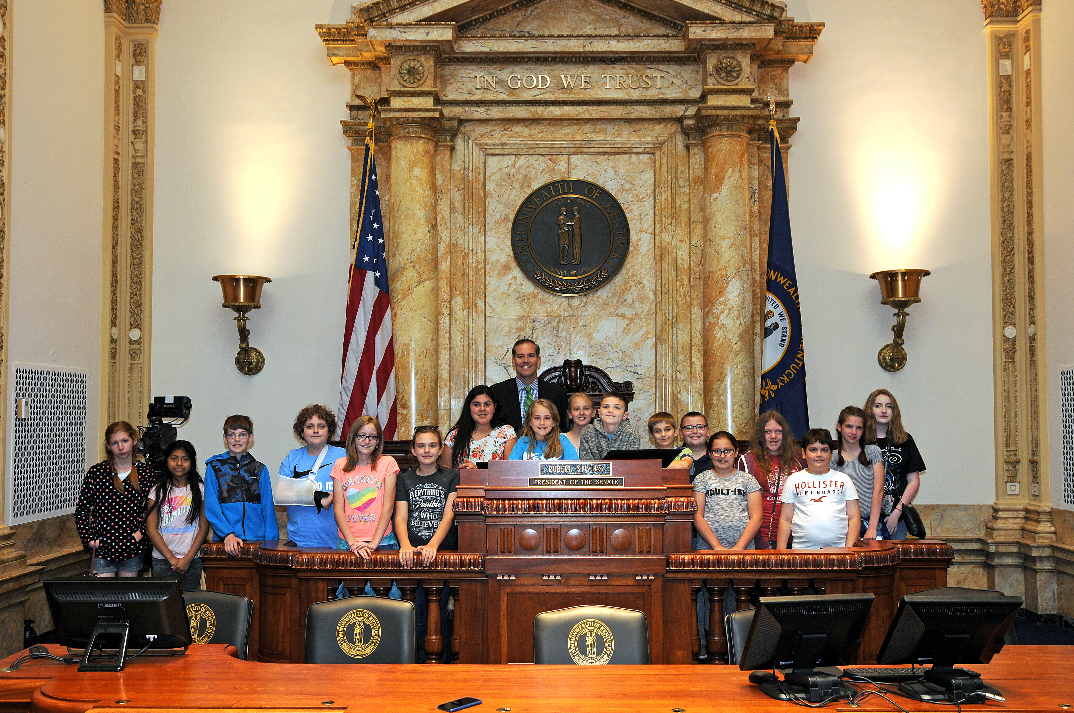 On Monday, May 13th, 5th grade social studies teacher Chris Marcum accompanied a group of students to Frankfort, Kentucky to tour the State Capitol and to meet with State Senator Max Wise.
