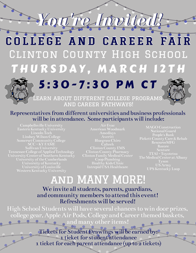 Come out to the College & Career Fair at CCHS on Thursday, March 12th!
