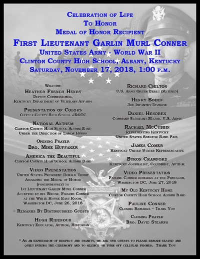 Join the Celebration of Life for Medal of Honor recipient Murl Conner on November 17th.