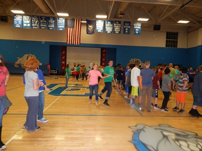 The Clinton County Extension Office and CCHS student 4-H counselors joined together to teach CCMS students how to Sally-Down-the-Alley - a longtime 4-H camp tradition.