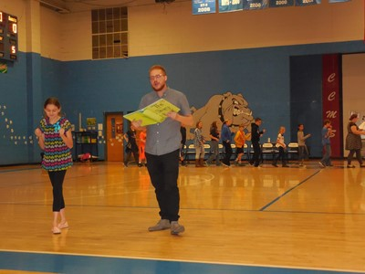 The Tour Team of Jenn and Matthew presented a workshop at Clinton County Middle School during the Missoula Children's Theatre residency week.
