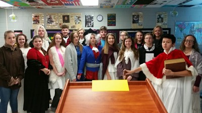 The students in Mrs. Pam Lovell's AP European History class at Clinton County High School participated in an Enlightenment Salon on Monday, December 11th.