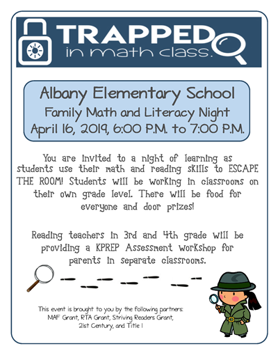 AES Family Math and Literacy Night will be Tuesday, April 16th!
