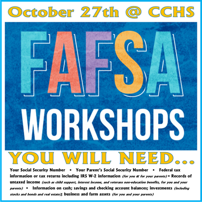 A KHEAA representative will be available at CCHS on October 27th to assist with FAFSA completion.