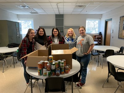 The Health Occupation Students of America (HOSA) at SOKY ECCA collected eighty-four pounds of canned foods for the community-wide food drive.