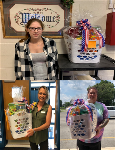 Ashtin Graves, Ashley Starns, and Stacy Shelley were the winners of gift baskets awarded by the ECC & AES Family Resource Center on orientation night.