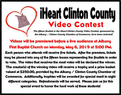 The fifteen finalists in the iHeart Clinton County Video Contest have been selected!
