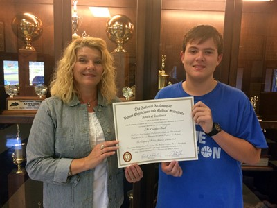 CCHS sophomore Conlan Beck recently received an Award of Excellence from the National Academy of Future Physicians and Medical Scientists for his participation in the Congress of Future Medical Leaders in Boston during the summer of 2017.