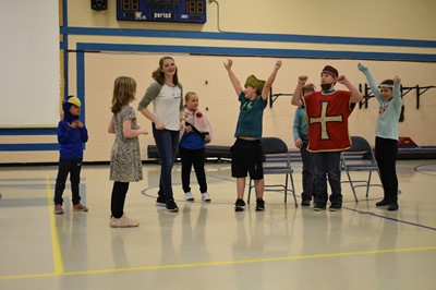 "Missoula Children's Theatre Tour Actor Josiah Howlett and Director Sage Tokach conducted a workshop entitled ""Bored Schmored – Let's Put on a Play!"" at Albany Elementary School on Wednesday, November 7th during the MCT residency week."