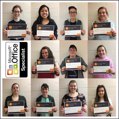 Eleven students passed Microsoft Office Specialist (MOS) certifications in Word, Excel, and PowerPoint last semester at Clinton County Area Technology Center.