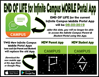 End of Life for the current Infinite Campus Mobile Portal App is June 30th!