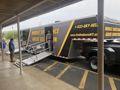 On Thursday, April 18, 2019, Public Affairs Officer Nick Hale from Kentucky State Police Post 15 visited Clinton County High School with the new Mobile Substance Abuse Education trailer.