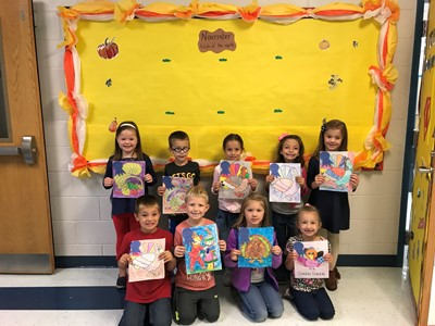 "Pictured here are the winners of the November ""Artist of the Month"" from Mrs. Cindy Wallace's kindergarten related arts classes at the Clinton County Early Childhood Center."