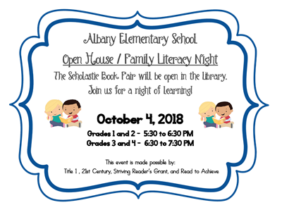 AES Open House and Family Literacy Night will be Thursday, October 4th!
