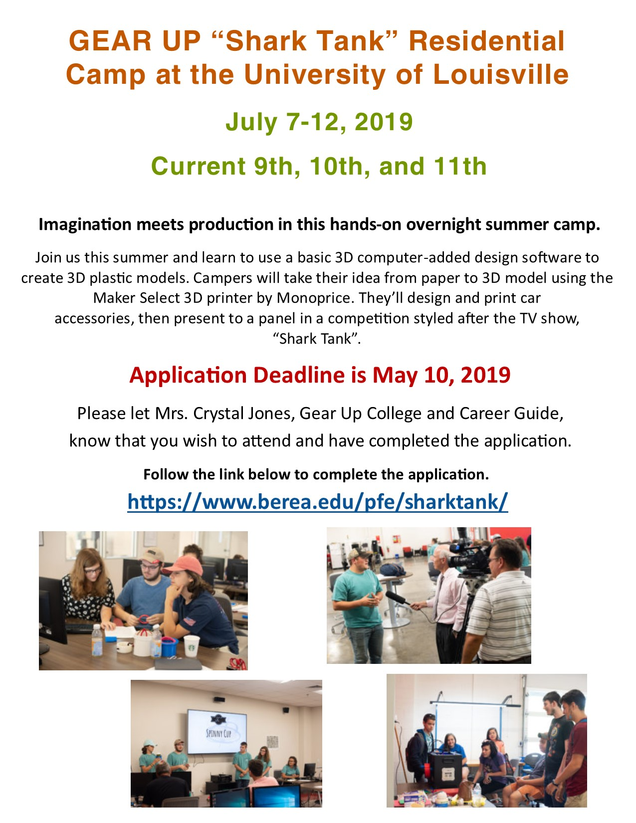 Check out these upcoming GEAR UP summer camp opportunities!