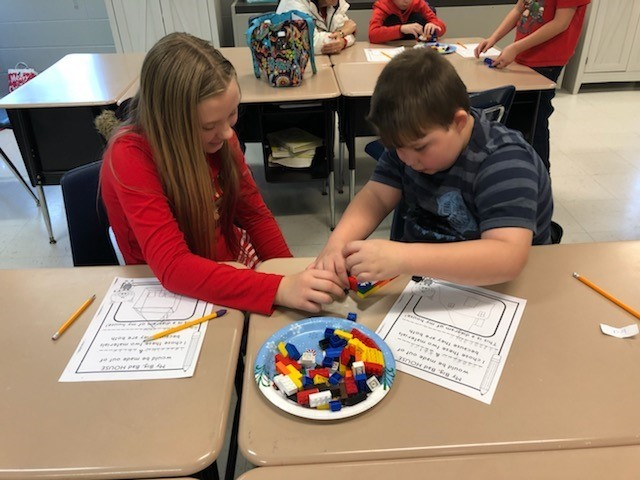 After reading The Three Little Pigs and The True Story of the Three Little Pigs, students in Ms. Samantha's and Ms. Mindie's 3rd grade classes at AES participated in a STEM activity.