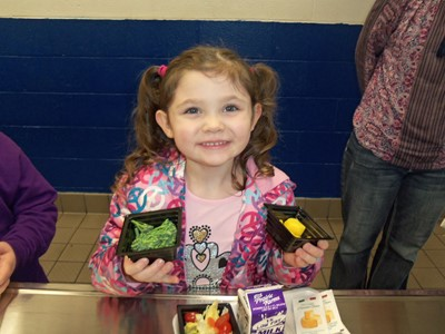 Students at ECC and AES had the opportunity to try broccolini and mangoes during Try Day on Monday, March 13th.
