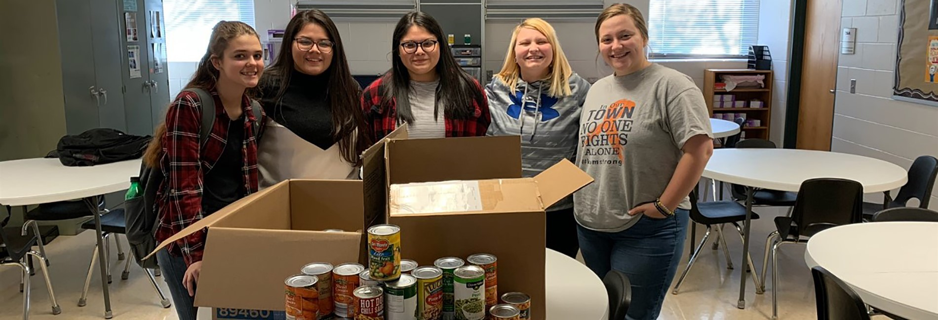 The HOSA students at SOKY ECCA collected 84 pounds of canned foods for the community-wide food drive!