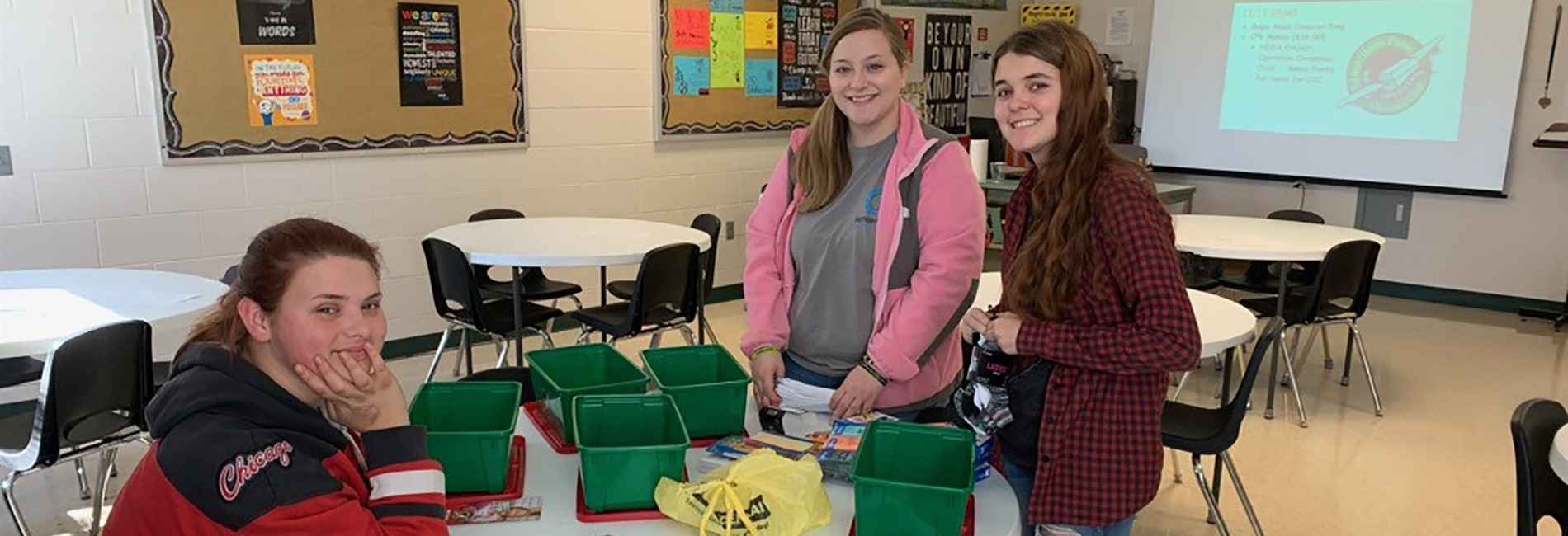 SOKY ECCA students fill Operation Christmas Child boxes.