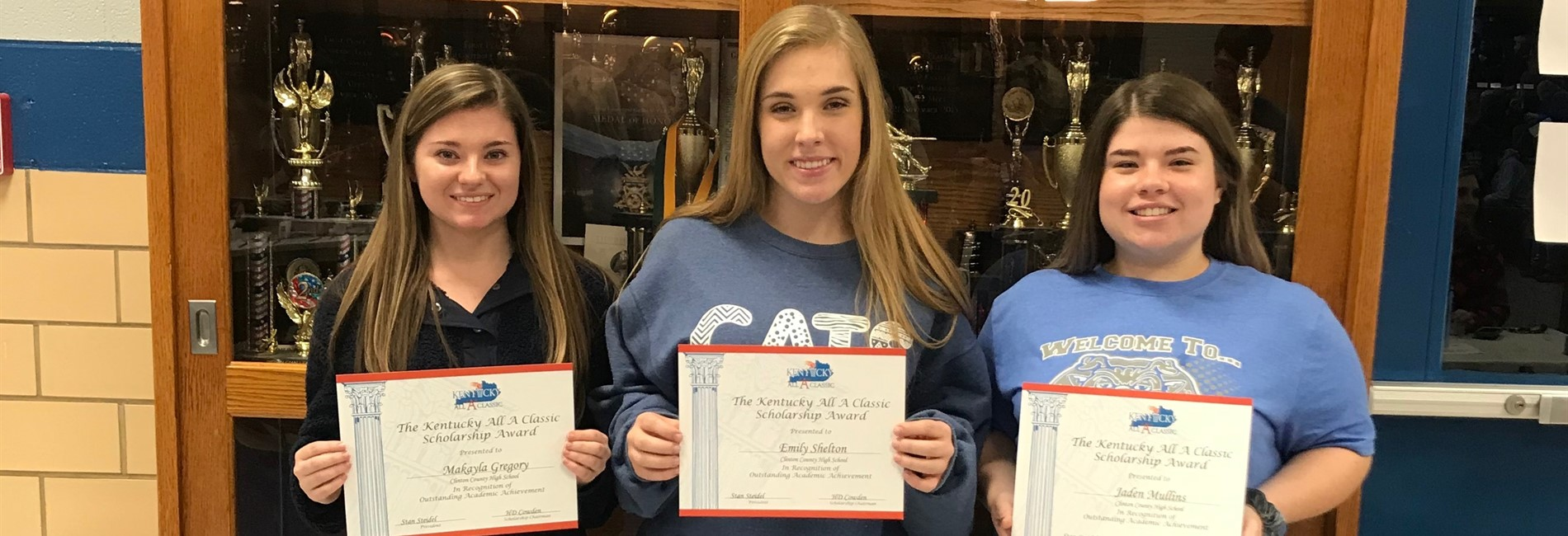CCHS seniors Makaya Gregory, Emily Shelton, and Jaden Mullins were recipients of the All A Classic scholarship.