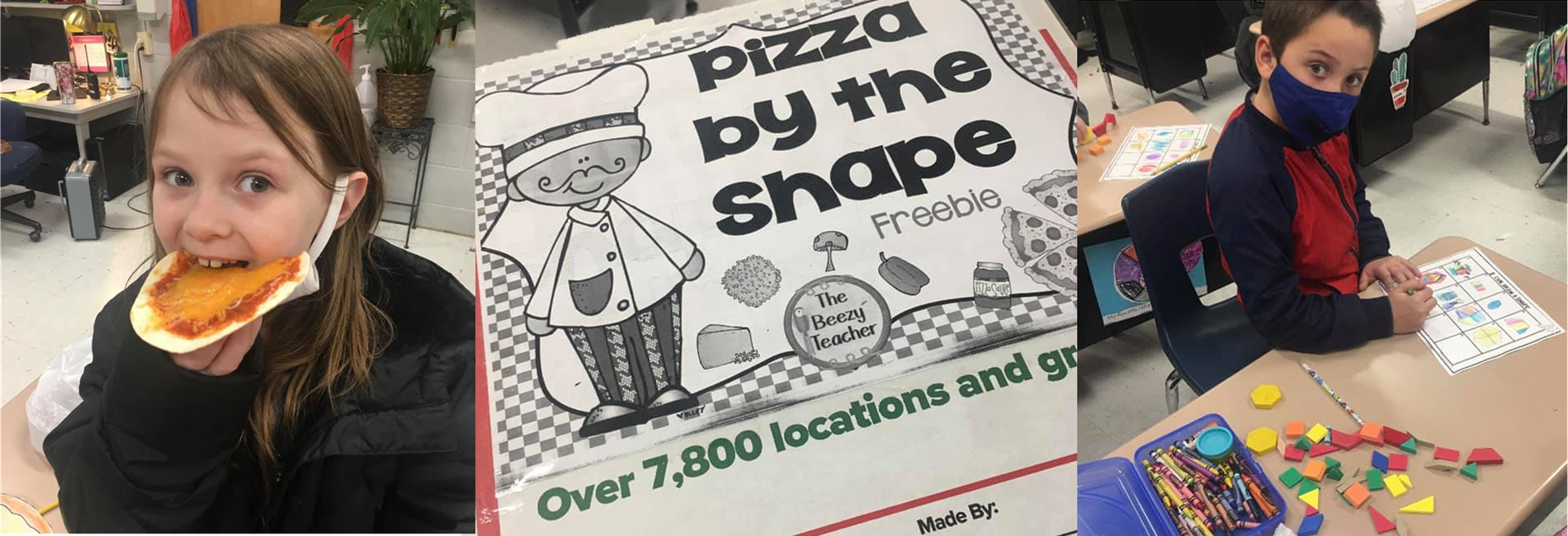 AES students discuss main idea and details, play pizza math games with shapes, write how to make a pizza, and make individual pizzas!