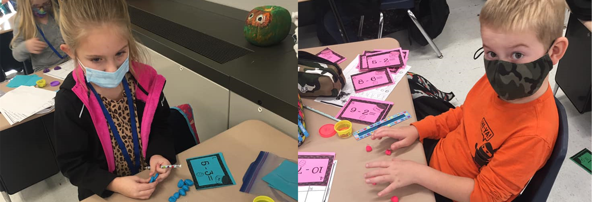 These 1st grade students play Subtraction Smash using play-dough.