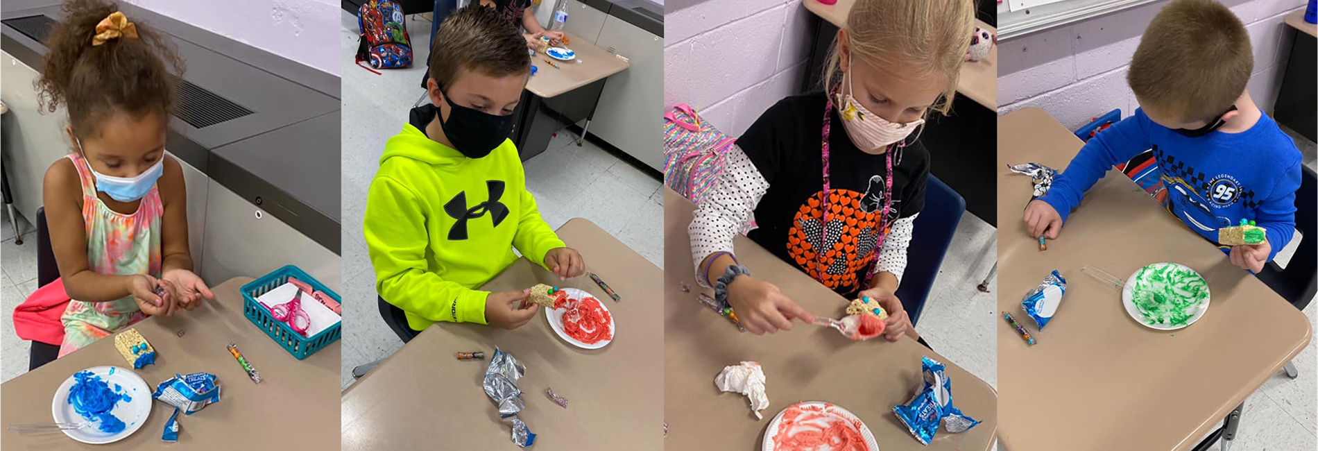 "AES students make Rice Krispies monsters to go along with their book ""If Your Monster Won't Go to Bed""."