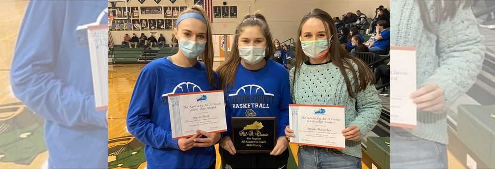 "Congratulations to Bulldog Seniors Braylee Mann, Abbi Young, Autumn McCutchen, & Christin Shelton (not pictured) on receiving All ""A"" Classic Scholarship Awards.  Abbi was also named to the All ""A"" 4th Region Academic Team!"
