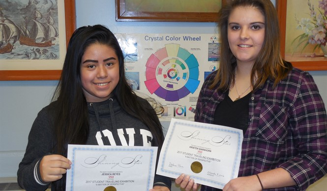 CCHS students Jessica Reyes and Kristen Branham are selected for the VSA Student Traveling Art Exhibit.