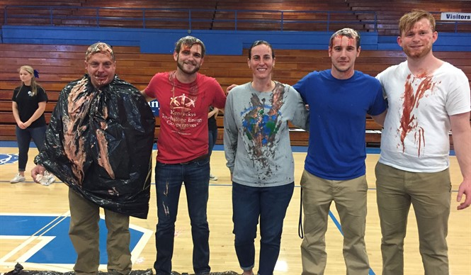 "CCHS faculty take a ""Pie in the Face"" for Relay for Life."