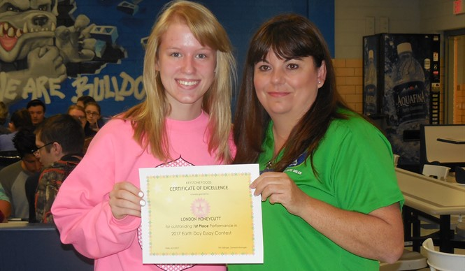 CCHS junior London Honeycutt won 1st place in the 2017 Earth Day essay contest.
