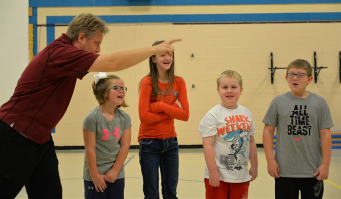 Students at AES participate in a workshop during Missoula Children's Theatre residency week.